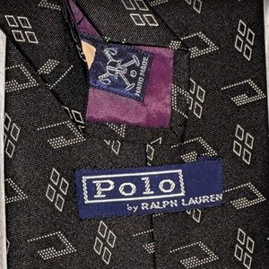polo by ralph lauren handmade 100% silk tie black